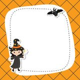 Greeting card with cute witch. Royalty Free Stock Photo