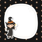 Greeting card with cute witch. Royalty Free Stock Photos