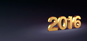 2016 Greeting card. 3D New Year gold 2016 isolated on black Stock Photography