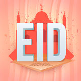 Greeting Card with 3D Text and Mosque for Eid. Royalty Free Stock Images