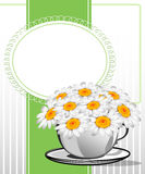 Greeting card with daisies and abstracts backgroun. D. Chamomile flower Stock Photos