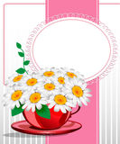 Greeting card with daisies and abstracts backgroun. D. Chamomile flower Stock Image