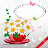 Greeting card with daisies and abstracts backgroun. D. Chamomile flower Royalty Free Stock Photo