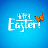 Greeting card for the day of Happy Easter. White Calligraphy letters on a blue background with butterfly Royalty Free Stock Photos
