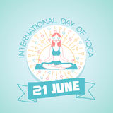 Greeting card Day of Yoga. Calendar for each day on june Royalty Free Stock Images