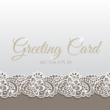 Greeting card decorated with floral lace Stock Images