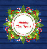 Greeting Card with Decoration for Happy New Year Royalty Free Stock Images