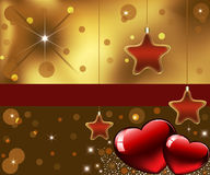 Greeting card with decorative hearts and stars. Festive design. Place for congratulations or text on a red rectangle Stock Photography