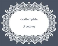 Greeting  card with decorative  oval border, doily of paper under the cake, template  Royalty Free Stock Images