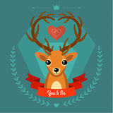 Greeting card with deer on blue Stock Image