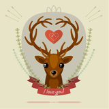 Greeting card with deer Stock Photos