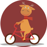 Greeting card with deer in a scarf on bycicle Stock Images