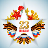 Greeting card for Defender of the Fatherland Day. Greeting card for holiday on 23 February, Defender of the Fatherland Day. Vector illustration Royalty Free Stock Images