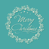 Greeting card deign for Merry Christmas celebration. Merry Christmas celebration greeting card design with stylish text in floral decorated rounded frame on sky Royalty Free Stock Image
