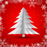 Greeting card design. Christmas tree made from pieces of paper EPS 10 royalty free illustration
