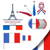 Greeting card design for The Bastille Day fourteen of july or another French holiday. Stylish vector modern illustration. And design elements. Vector Icons set vector illustration