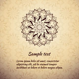 Greeting card design with brown mandala. Stock Photos