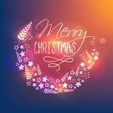 Greeting Card design for Christmas celebration. Glowing typographic background with floral decoration, Beautiful greeting card design for Merry Christmas Stock Photography