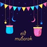 Greeting card design for Eid festival celebration. Stock Photography