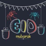 Greeting card design for Eid festival celebration. Royalty Free Stock Images