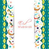 Greeting card design for Eid Mubarak celebration. Beautiful greeting card design decorated with crescent moons, stars and firecrackers for Muslim community Royalty Free Stock Photos
