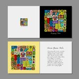 Greeting card design, ethnic handmade ornament Stock Images