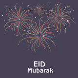 Greeting card design with fireworks for Eid. Royalty Free Stock Photos