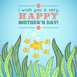 Greeting card design with fish for Mother Day Royalty Free Stock Image