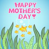 Greeting card design with fish for Mother's Day. Vector illustration dor funny holiday design. Blue, pink, green, orange and yellow colors. Hand drawn picture Stock Photography