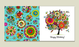 Greeting card design, floral tree Royalty Free Stock Images