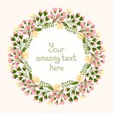 Greeting card design with a floral wreath Royalty Free Stock Images