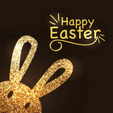 Greeting card design with golden Easter Bunny. Royalty Free Stock Images