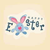 Greeting card design for Happy Easter celebration. Elegant greeting card design with cute smiling bunny for Happy Easter celebration Stock Photos