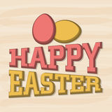 Greeting card design for Happy Easter celebration. Elegant greeting card design decorated with 3D text Happy Easter and eggs on vintage background Stock Photo