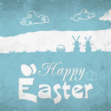 Greeting card design for Happy Easter celebration. Elegant greeting card design with rabbits and eggs on grungy background for Happy Easter celebration stock illustration