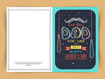 Greeting card design for Happy Fathers Day. Royalty Free Stock Image