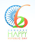 Greeting card design for Happy Indian Republic Day. Creative greeting card design with Ashoka Wheel for 26 January, Happy Indian Republic Day celebration Stock Photo