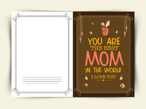 Greeting card design for Happy Mothers Day celebration. Stock Photos