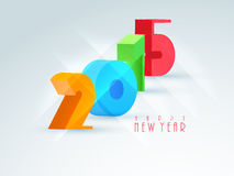 Greeting card design for Happy New Year 2015 celebration. Colorful 3D text 2015 for Happy New Year celebrations on blue background, can be used as greeting or Stock Images