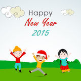 Greeting card design for Happy New Year 2015 celebrations. Stock Image