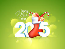 Greeting card design for Happy New Year 2015 celebrations. Happy New Year celebrations greeting card design with 3D text 2015 and Santa Sock full of gifts on Stock Photos