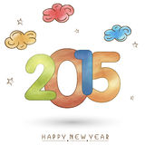 Greeting card design for Happy New Year 2015 celebrations. Happy New Year celebrations greeting card design with shiny text 2015 on clouds and stars decorated Royalty Free Stock Image