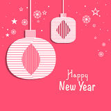 Greeting card design for Happy New Year 2015 celebrations. Happy New Year celebrations greeting card design with stylish hangings on snowflakes and star Stock Photos