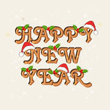 Greeting card design for Happy New Year 2015 celebrations. Stylish text Happy New Year decorated with Xmas ornaments, can be used as greeting or invitation card royalty free illustration