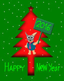 Greeting Card Design, Happy New Year Dog in Christmas tree. Happy New Year Card 2016, illustration Royalty Free Stock Image