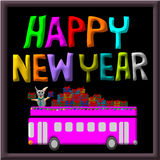 Greeting Card Design, Happy New Year Dog and gift on car bus Stock Photos