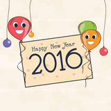 Greeting card design for Happy New Year 2016. Royalty Free Stock Photo