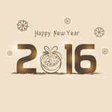Greeting card design for Happy New Year 2016. Stock Photo