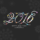 Greeting card design for Happy New Year 2016. Elegant greeting card with stylish text 2016 on snowflakes decorated background for Happy New Year celebration Royalty Free Stock Photo