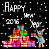 Greeting Card Design, Happy New Year 2016, Happy New Year Card, Dog and Gift Royalty Free Stock Image
